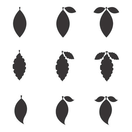 simple life: Set of Leaf Vector Icons or Elements for Eco and Bio Logos. Various Shapes of Leaves Isolated