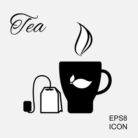 Cup of Hot Tea Vector Icon and Tea Bag Pictogram