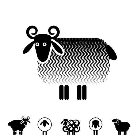 Sheep or Ram Icon, Logo, Template, Pictogram. Trendy Simple Lamb or Ewe Symbol for Market, Internet, Design, Decoration Illustration