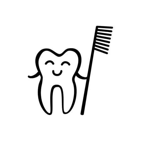 whiten: Happy Tooth with Toothbrush Icon Isolated on White Background. Hand Drawn Stomatology Symbol Illustration