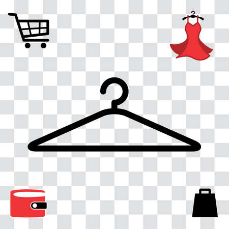 Black Clothes Hanger Icon for Fashion or Sale Design. Shopping Symbol with Wallet, Bag, Shopping Cart and Woman Dress Illustration