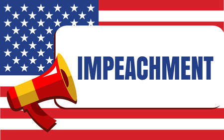 Political Poster with the Impeachment Word on the USA Flag Background. Flat Style Vector Illustration