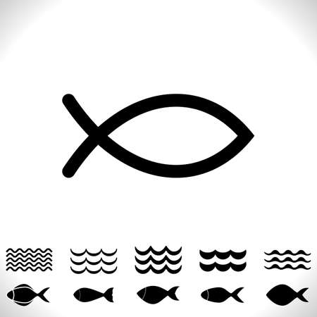 Set of Fish and Waves Vector Icon Isolated. Black Seafood Logo Collection. Simple Aquatic Animal Silhouette. Fishing Symbol or Black and White Pictogram Ilustracja