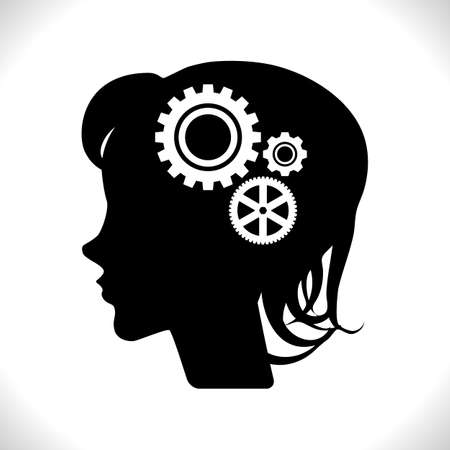 Gear in Head Pictograph Isolated on White Background. Mind or Brain Icon, Generation of Ideas Symbol Stock Illustratie