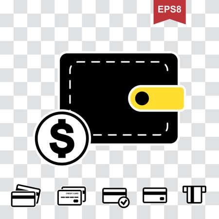 Wallet Icon in Flat Style. Pocketbook with Credit Card and Money Symbols for Web, Logo, App, UI. Simple Vector Illustration Isolated
