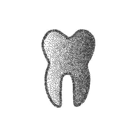 whiten: Black Vector Tooth Icon Isolated on White Background. Hand Drawn Human Molar