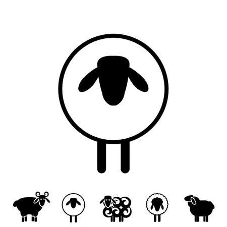 Sheep or Ram Icon, Logo, Template, Pictogram. Trendy Simple Lamb or Ewe Symbol for Market, Internet, Design, Decoration Ilustração