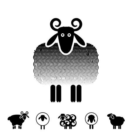 Sheep or Ram Icon, Logo, Template, Pictogram. Trendy Simple Lamb or Ewe Symbol for Market, Internet, Design, Decoration Ilustração
