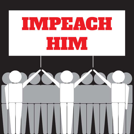 People Holding a Poster with the Impeachment Word. Simple Vector Illustration