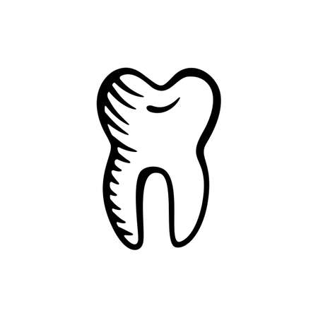 Black Vector Tooth Icon Isolated on White Background. Hand Drawn Human Molar