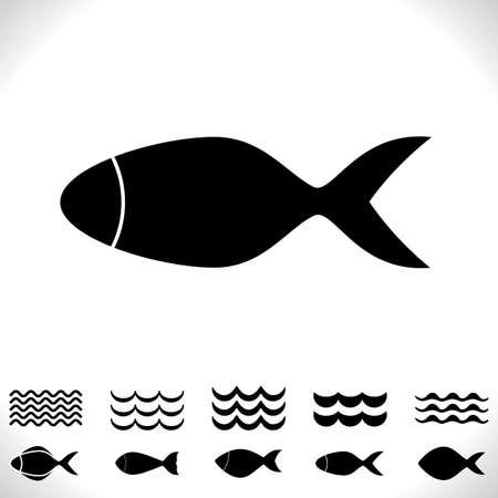 Ensemble de poissons et de vagues Vector Icon isolé. Collection de Logo de fruits de mer noirs. Silhouette simple animal aquatique. Symbole de pêche ou pictogramme noir et blanc Logo