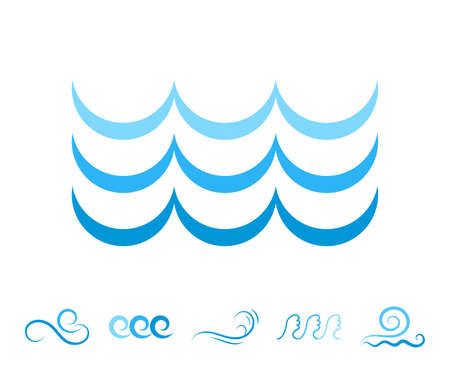 oceanic: Blue Sea Wave Icons or Water Liquid Symbols Isolated on White. River or Oceanic Flowing Sign, Bending Lines Stock Photo