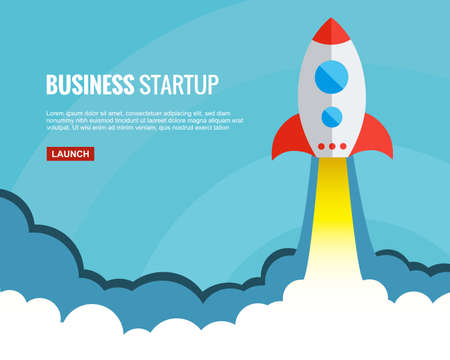 Rocket launch vector illustration. Concept of successful business start or new innovation product launch. Start up template in flat style. Startup symbol with space for text Vektorové ilustrace