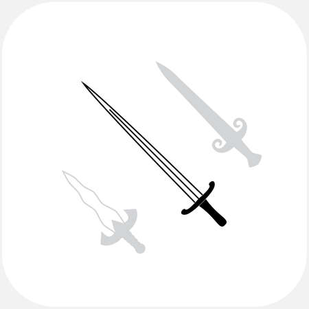 longsword: Swords Vector Icon Collection. Knives Sharp Blades Symbols Set Isolated on White Background. Daggers Illustration