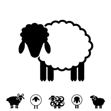 Sheep or Ram Icon, Logo, Template, Pictogram. Trendy Simple Lamb or Ewe Symbol for Market, Internet, Design, Decoration  イラスト・ベクター素材