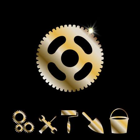 Gold Gear Or Cog Wheel Vector Icon. Machine, Technology, Equipment, Engine, Mechanism Sign. Idea, Settings, Development Progress Symbol Isolated