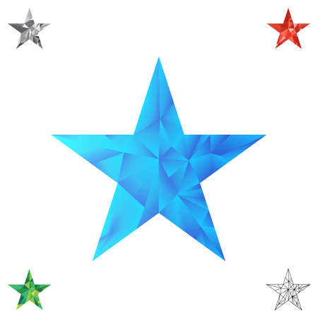 cubismo: Low poly blue star make with triangles. Flickering polygonal star vector background