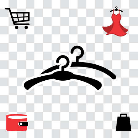 hangers: Black Clothes Hanger Icon for Fashion or Sale Design. Shopping Symbol with Wallet, Bag, Shopping Cart and Woman Dress Illustration