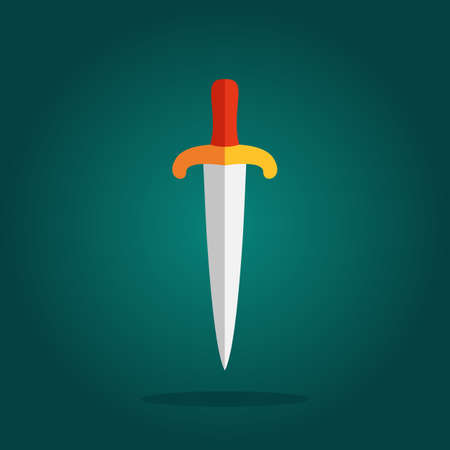 knive: Game Sword Icon in Flat Style. Knive Sharp Blade Symbol Isolated on White Background. Dagger Illustration