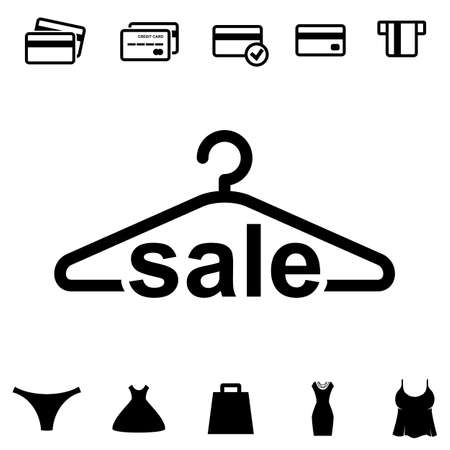 hangers: Simple Black Clothes Hanger Icon for Fashion or Sale Design. Shopping Collection with Clothing, Bag and Credit Cards