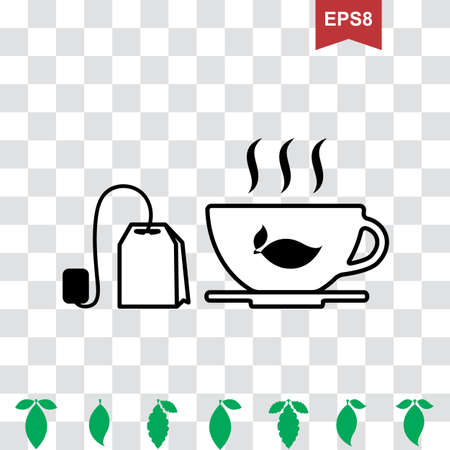 Cup of Hot Tea Vector Icon and Teapot Pictogram with Green Leaves Collection Illustration