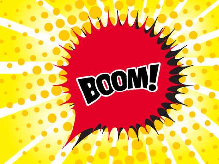 Comic boom text sound effect. Popart bubble speech cartoon background. Pop art boom effect vector illustration Illustration