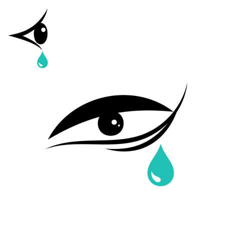 eye drops: Tear vector icon isolated on white background. Eye icon or logo Illustration