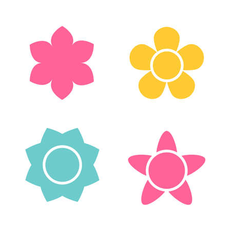 calendula: Flower icon collection in flat style. Daisy symbol or logo, template, pictogram. Blossom silhouette. Colorful 70s retro design vector illustration. Minimal style Illustration