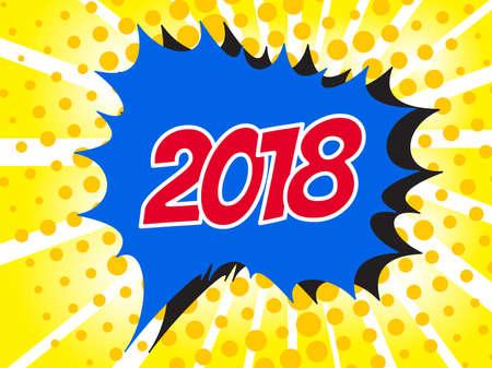 communication cartoon: 2018 Comic boom text sound effect. Popart bubble speech cartoon background. Pop art boom effect vector illustration