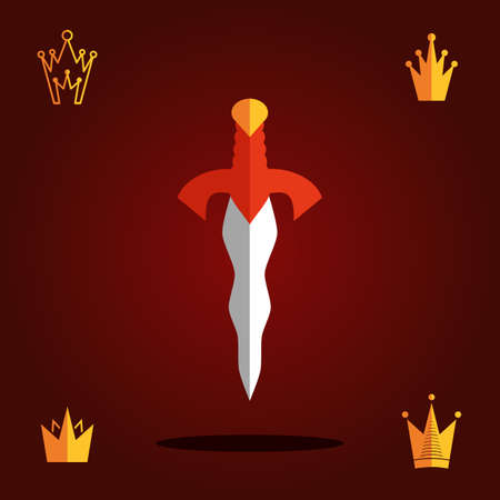 Sword and Crown Flat Vector Icons. Ancient King Symbols