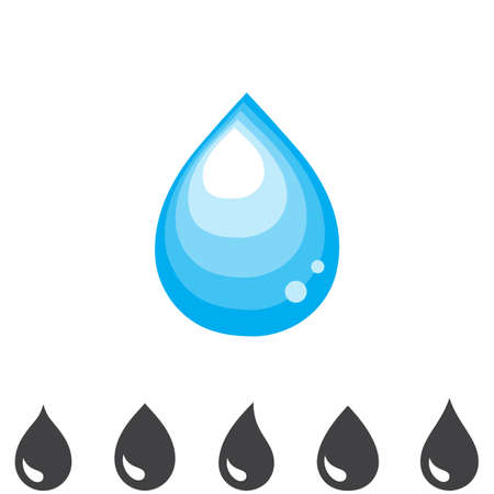 Blue drop vector icon or rain icon isolated on white background Illustration