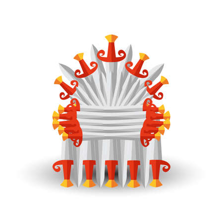Iron throne for computer games design. Vector illustration in flat style
