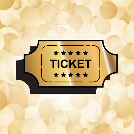 Gold Ticket Icon. Coupon Symbol. Movie Pass Sign Vector Illustration