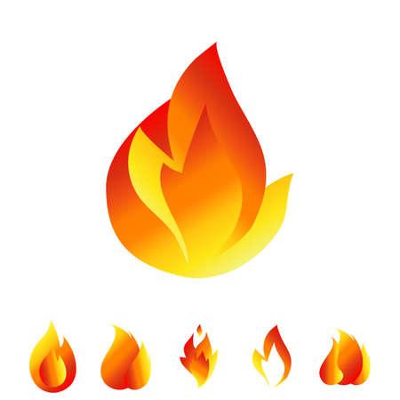 explosion hazard: Fire icon set. Sign of the flame isolated on white background. Bonfire symbols Illustration
