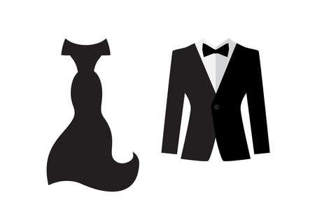 흰색 배경에 고립 된 드레스와 양복 아이콘입니다. 저녁 옷 기호. 결혼 한 커플 로고 일러스트