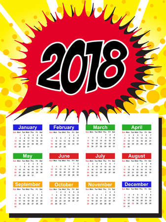Calendar Template for 2018 with Week Starts Sunday. Vector Illustration Illustration
