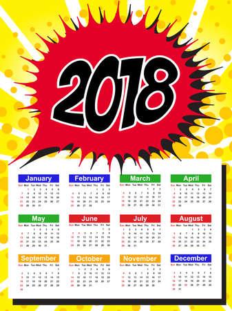 Calendar Template for 2018 with Week Starts Sunday. Vector Illustration Illustration