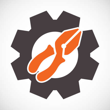 alicates: Alicates icono o símbolo de herramientas de servicio aislado sobre fondo blanco. Ilustración de vector de opciones. Configuración de señal con alicates y engranaje