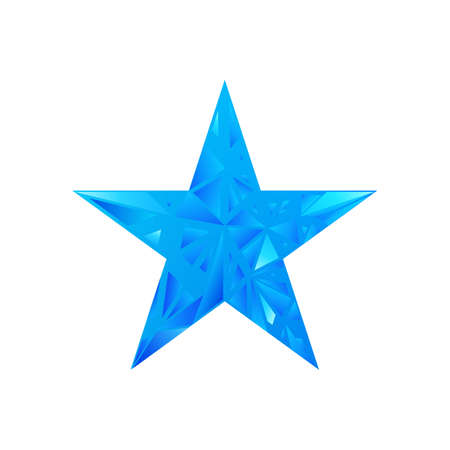 Low poly blue star make with triangles. Flickering polygonal star vector background