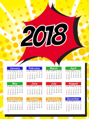 12: Calendar Template for 2018 with Week Starts Sunday. Vector Illustration Illustration