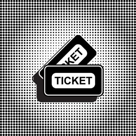 Black Ticket Vector Icon. Coupon Symbol on Dotted Halftone Background. Movie Pass Sign Vector Illustration