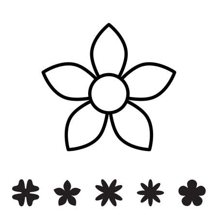 Flower icon collection. Daisy symbol or logo, template, pictogram. Blossom silhouette. Black and white thin line vector illustration. Minimal style