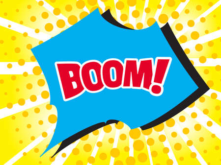 communication cartoon: Comic boom text sound effect. Popart bubble speech cartoon background. Pop art boom effect vector illustration Illustration