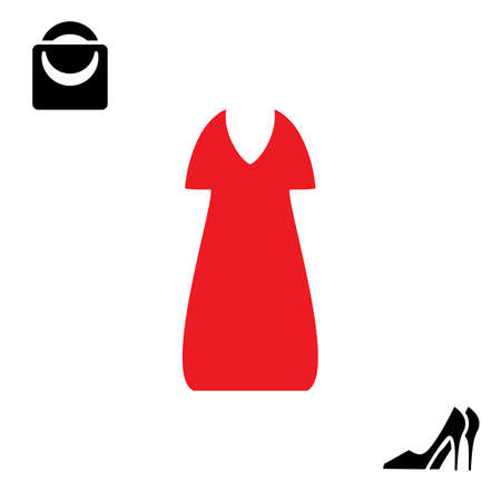 Woman red dress and shoes icon isolated on white background. Gown and bag vector symbol