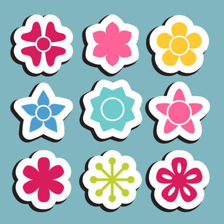 flower sticker icon collection daisy symbol or logo template