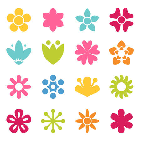 Flower icon collection in flat style. Daisy symbol or logo, template, pictogram. Blossom silhouette. Colorful 70s retro design vector illustration. Minimal style Vettoriali
