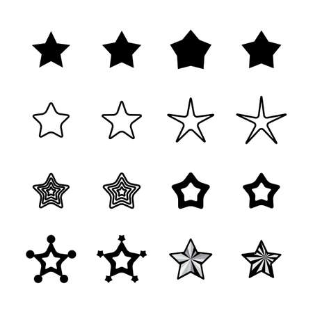 Star Icons Isolated on White Background. Favorite Vector Symbol or Button Element Silhouette