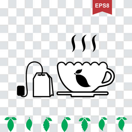 pause icon: Cup of Hot Tea Vector Icon and Teapot Pictogram with Green Leaves Collection Illustration