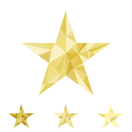 Low poly gold star make with triangles. Flickering polygonal star vector icon