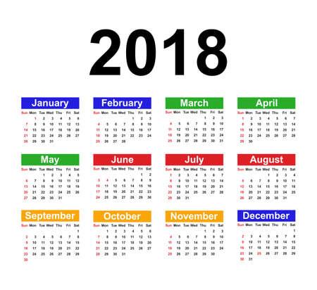 Kalender sjabloon voor 2018 met week begint zondag. Vectorillustratie Stock Illustratie